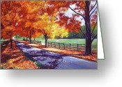 Impressionist Greeting Cards - October Road Greeting Card by David Lloyd Glover