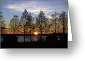 Johannessen Greeting Cards - October Sunset Greeting Card by Torfinn Johannessen