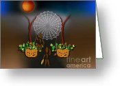Fall Whimsical Digital Art Greeting Cards - October with the Zinglees Greeting Card by Linda Seacord
