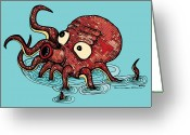 Featured Drawings Greeting Cards - Octopus - Color Greeting Card by Karl Addison