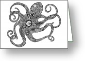 Beaches Drawings Greeting Cards - Octopus Greeting Card by Carol Lynne