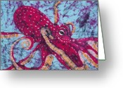 Fine Art Batik Tapestries - Textiles Greeting Cards - Octopus Fine Art Batik Greeting Card by Kay Shaffer