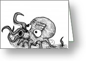 Pacific Drawings Greeting Cards - Octopus Greeting Card by Karl Addison