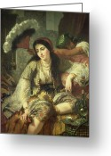 Orientalists Greeting Cards - Odalisque Greeting Card by Jean Baptiste Ange Tissier