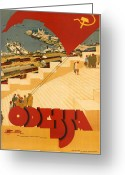 Cruise Ships Greeting Cards - Odessa Greeting Card by Nomad Art And  Design