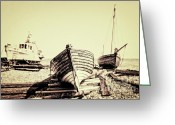 Sea Greeting Cards - Of Different Eras Greeting Card by Meirion Matthias