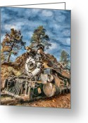Locomotives Greeting Cards - Of Mountain and Machine Greeting Card by Jeff Kolker
