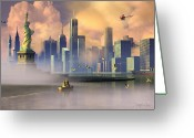 Cities Digital Art Greeting Cards - Of Stone and Steel Greeting Card by Dieter Carlton