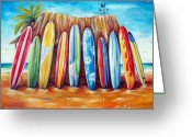 Surf Greeting Cards - Off-Shore Greeting Card by Deb Broughton