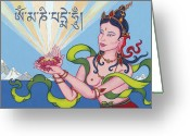 Iconography Painting Greeting Cards - Offering Goddess with mantra Om Mani Padme Hum Greeting Card by Carmen Mensink