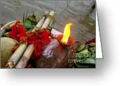 Oil Lamp Greeting Cards - Offerings Greeting Card by Sarah Joseph