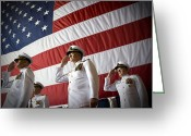 Representatives Greeting Cards - Officers Render Honors During A Change Greeting Card by Stocktrek Images