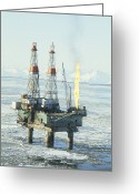 Offshore Greeting Cards - Offshore Oil Wells, Alaska Greeting Card by Joseph Rychetnik