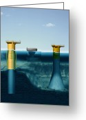 Foundations Greeting Cards - Offshore Wind Farm Foundations, Artwork Greeting Card by Claus Lunau