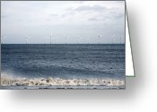 Farm Machine Greeting Cards - Offshore Wind Farm Greeting Card by Victor De Schwanberg