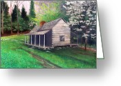 Log Cabins Painting Greeting Cards - Ogle Homestead Gatlinburg Tn Greeting Card by Herb Dickinson