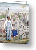 Overalls Greeting Cards - Ogorman: City Of Mexico Greeting Card by Granger