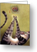Feline Greeting Cards - Oh Boy Greeting Card by Barbara Hranilovich
