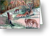 Feeding Mixed Media Greeting Cards - Oh Dear My Deer Greeting Card by Mindy Newman