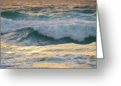 Winter Storm Pyrography Greeting Cards - Oh  Majestic Ocean Greeting Card by E Luiza Picciano