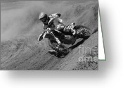 Motorcycle Racing Greeting Cards - Oh What A Feeling Monochrome Greeting Card by Bob Christopher