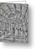 Airport Concourse Greeting Cards - Ohare Concourse Greeting Card by David Bearden