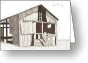Dilapidated Drawings Greeting Cards - Ohio Barn Greeting Card by Pat Price