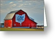Red Barn Greeting Cards - Ohio Bicentennial Barn -Van Wert County Greeting Card by Pamela Baker