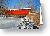 Bridge Prints Greeting Cards - Ohio Covered Bridge Greeting Card by LaMarre Labadie