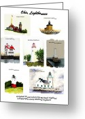Toledo Greeting Cards - Ohio Lighthouses Collage Greeting Card by Michael Vigliotti
