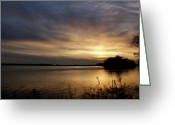 Evansville Greeting Cards - Ohio River Sunset Greeting Card by Sandy Keeton