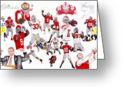 Michigan Drawings Greeting Cards - Ohio State Collage Greeting Card by Gerard  Schneider Jr
