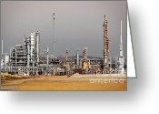 Industrial Plant Photo Greeting Cards - Oil Refinery Greeting Card by Carlos Caetano