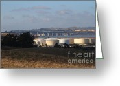 Silo Greeting Cards - Oil Refinery Industrial Plant And Martinez Benicia Bridge In Martinez California . 7D10388 Greeting Card by Wingsdomain Art and Photography