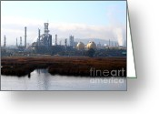 Industrial Plant Photo Greeting Cards - Oil Refinery Industrial Plant In Martinez California . 7D10363 Greeting Card by Wingsdomain Art and Photography