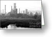 Industrial Plant Photo Greeting Cards - Oil Refinery Industrial Plant In Martinez California . 7D10364 . black and white Greeting Card by Wingsdomain Art and Photography