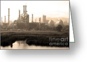 Industrial Plant Photo Greeting Cards - Oil Refinery Industrial Plant In Martinez California . 7D10364 . sepia Greeting Card by Wingsdomain Art and Photography