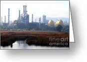 Shell Martinez Refining Company Greeting Cards - Oil Refinery Industrial Plant In Martinez California . 7D10364 Greeting Card by Wingsdomain Art and Photography
