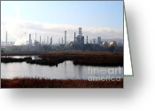 Industrial Plant Photo Greeting Cards - Oil Refinery Industrial Plant In Martinez California . 7D10365 Greeting Card by Wingsdomain Art and Photography
