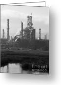 Industrial Plant Photo Greeting Cards - Oil Refinery Industrial Plant In Martinez California . 7D10368 . Black and White Greeting Card by Wingsdomain Art and Photography