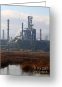 Industrial Plant Photo Greeting Cards - Oil Refinery Industrial Plant In Martinez California . 7D10368 Greeting Card by Wingsdomain Art and Photography