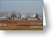 Industrial Plant Photo Greeting Cards - Oil Refinery Industrial Plant In Martinez California . 7D10390 Greeting Card by Wingsdomain Art and Photography