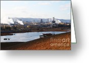 Industrial Plant Photo Greeting Cards - Oil Refinery Industrial Plant In Martinez California . 7D10393 Greeting Card by Wingsdomain Art and Photography