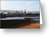 Industrial Plant Photo Greeting Cards - Oil Refinery Industrial Plant In Martinez California . 7D10398 Greeting Card by Wingsdomain Art and Photography