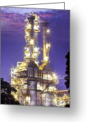 Pollute Greeting Cards - Oil Refinery Plant At Twilight Morning  Greeting Card by Anek Suwannaphoom