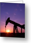 Pollute Greeting Cards - Oil Rig At Sunset Greeting Card by Connie Cooper-Edwards
