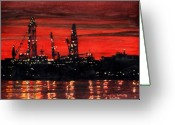 Night Scene Greeting Cards - Oil Rigs Night Construction Portland Harbor Greeting Card by Dominic White