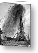 Spout Photo Greeting Cards - Oil Well, 19th Century Greeting Card by