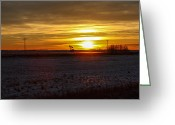 Winter Sun Greeting Cards - Oil Well Sunset Greeting Card by Christy Patino
