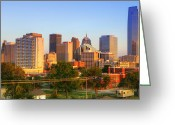 Highrises Greeting Cards - OKC Dusk Greeting Card by Ricky Barnard